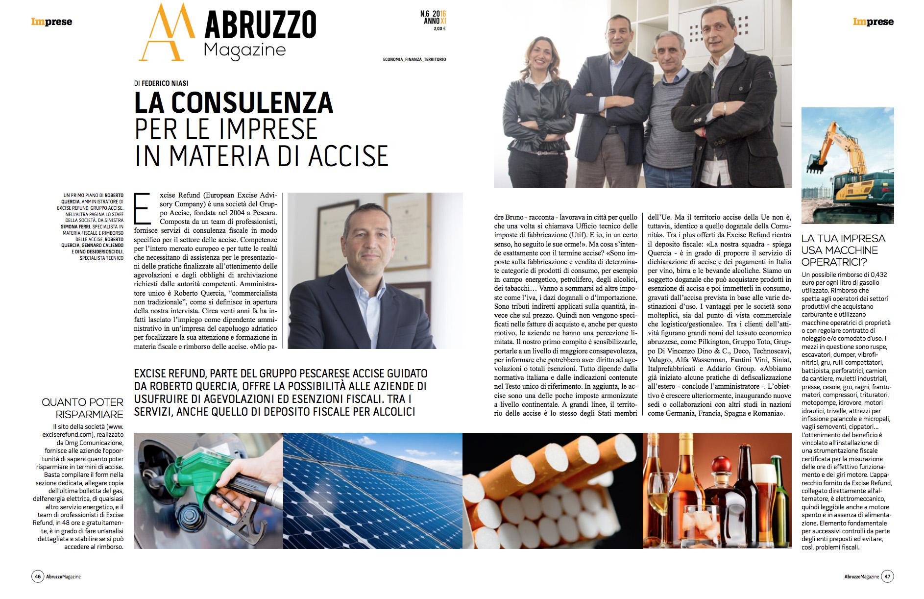 abruzzo magazine - excise refund - dmg comunicazione