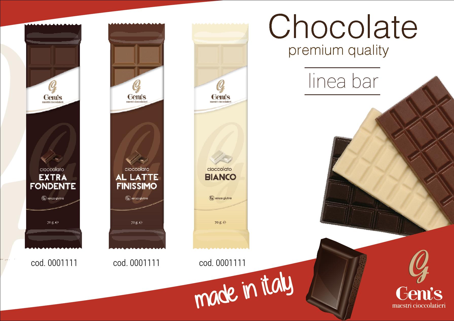 tavolette di cioccolato artigianalie linea bar